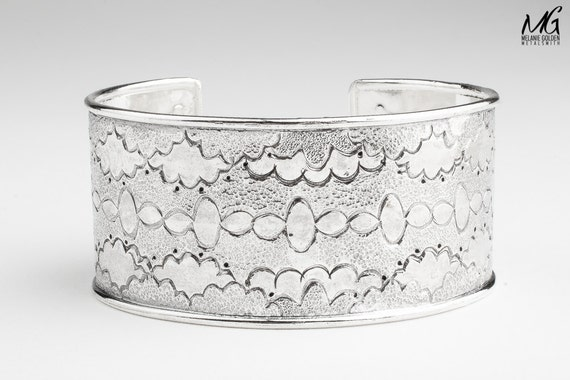 Sterling Silver cuff bracelet - Cloud design - Wide hand stamped bangle cuff bracelet - huge bohemian navajo style statement cuff bracelet