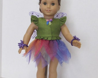 "Garden fairy costume for Halloween or dance for your 18"" American Girl dolls"