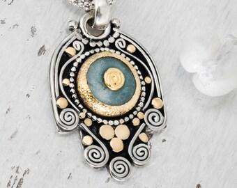 Silver Hamsa Necklace, Amulet Necklace, Hamsa Necklace Sterling Silver, Judaica Jewelry, Hamsa Necklace Gold, Hamsa Hand, Made in Israel