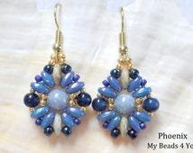 Beaded Earrings, Beadwork Earrings, Superduo Beads Earrings, Beaded Blue Earrings, Jewelry, Beading Tutorial and Patterns, My Beads 4 You