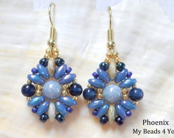Beaded Earrings, Beadwork Earrings, Superduo Beads Earrings, Beaded Blue Earrings, Jewelry, Beading Tutorial and Patterns, My Beads 4 You