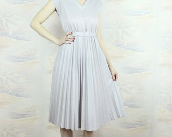 Vintage pleated dress,day dress in grey,midi dress,