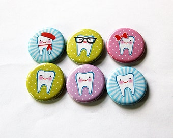 Fridge magnets, button magnets, tooth fairy magnets, stocking stuffer, dental hygienist gift, dentist gift, dental office magnets (5869)