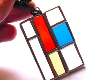 """stained glass pendant """"Mondrian tribute"""""""