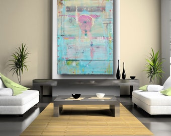 Personalized Wall Art Personalized Decor Blue Painting Fine Art Pastel Colored Acrylic Painting Clearance Sale 60 x 40 Cheryl Wasilow