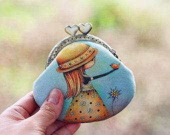 """Kiss lock coin purse dyed linen fabric """"My little bird"""""""