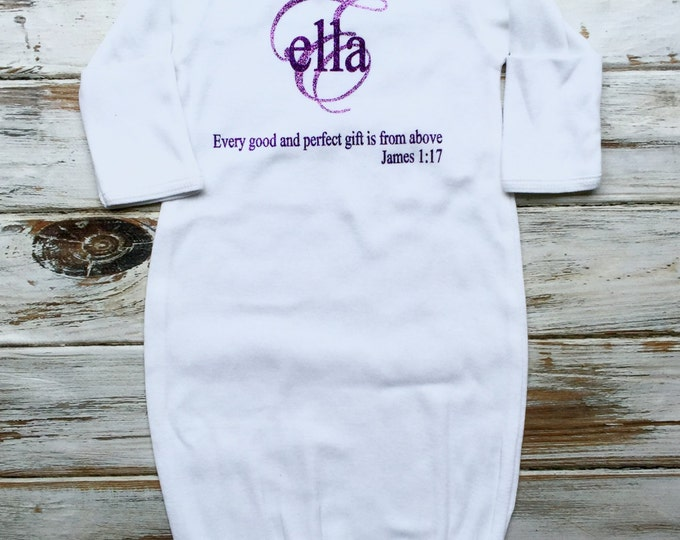 Baby gown with name, Monogram Baby gown, James 1:17 Baby Gown, Monogrammed Baby Gown, Baby Shower Gifts, Infant Layette