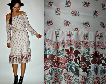 1970s Bohemian Floral Off Schoulder Prairie Dress