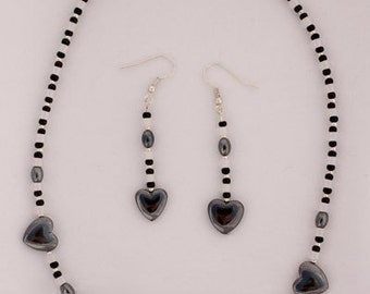 Hematite Black and White Necklace and Earring Set
