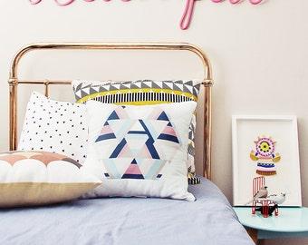 Aztecy Print Cushion Cover – hexagon, aztec, trim, pattern, pastel, scatter pillow, exclusive design, 45x45cm, turquoise