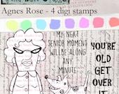 Agnes Rose - Snarky senior citizen woman with dog digi stamp set