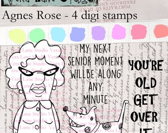 Agnes Rose - Snarky senior citizen woman with dog digi stamp set