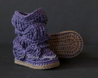 Crochet Baby Boots, Crochet Baby Shoes, Purple Baby shoes, Baby Girl Boots, Slouchy Baby Boots, Baby Gift, Baby Girl Gift, Baby Girl Shoes