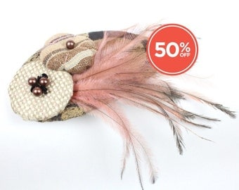 SALE!! Headpiece Fascinator with Vintage Fabric Flowers and Feathers