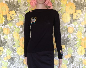 Madame Butterfly - black sweater - black long sleeve shirt -60's butterfly top - boatneck sweater - embroidered butterfly - neon butterfly