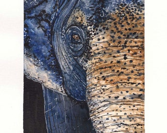 Blue Elephant Original Painting