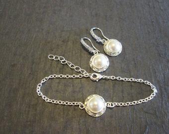 Swarovski Pearl Bridesmaid Bracelet Set/Pearl Jewelry Set /Bridesmaid Jewelry/Pearl Bracelet/Pearl Bridal Jewelry/Bridesmaid Pearl Studs