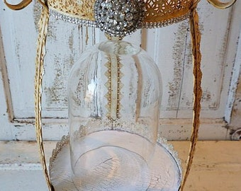 Double glass dome w/ salvaged base ornate shabby cottage chic cloche display embellished rhinestone trim dolls and decor anita spero design