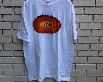 Vintage BUDWEISER HALLOWEEN t shirt Stedman by Hanes tag beer pumpkins ghosts witches booze clothing