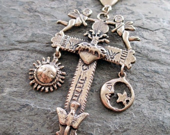 large cross pendant bronze sacred heart angel cherub bird sun moon milagro celestial charms rosary connector statement jewerly catholic