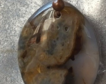 Brown and Clear Jasper Necklace Teardrop Pendant