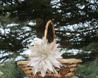 Personalized Flower Girl Basket - Rustic Wedding Basket - Flower Girl Basket - Burlap Flower Girl Basket - Rustic Wedding - Flower Girl