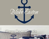 Nautical Name Wall Decal - Anchor Wall Decal - Custom Name Decal - Personalized Anchor Decal - Kids Room - Sailing