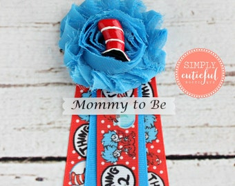 Dr Seuss Cat in the Hat Baby Shower Corsage with Mommy to Be Grandma to Be and Custom Pins for Dr Seuss Inspired Baby Showers