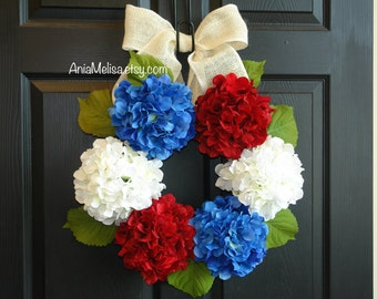 spring wreath summer wreath front door wreaths 4th of July decorations patriotic hydrangeas flowers, wreaths