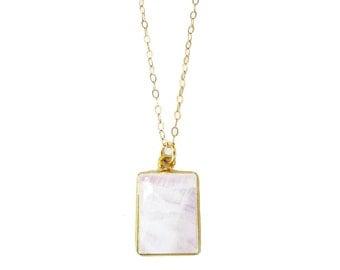 Moonstone Pendant Necklace, Rainbow Moonstone Necklace, June Birthstone