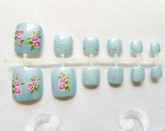 Baby Blue / Pink Flowers Fake Toenails, Fake Nails, Toenails, Pedicure, Toe Nails, Press on, Acrylic, Roses, Glitter