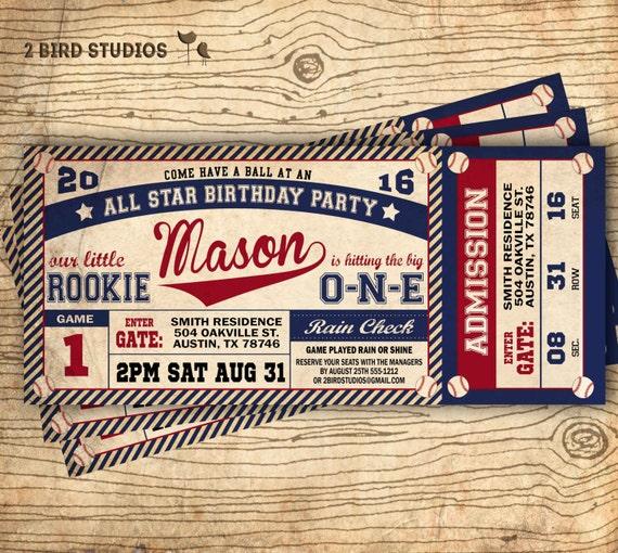 Vintage Baseball Birthday Invitations: Baseball Birthday Invitation Baseball Ticket By 2birdstudios