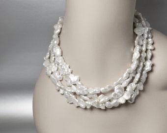 Multi Strand Pearl Necklace, Baroque Pearl Necklace, Multistrand Necklace Earrings Set, Cultured Pearl Necklace, Baroque Pearl Necklace