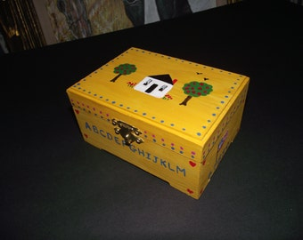 Hand painted folk art wooden box by NY folk artist