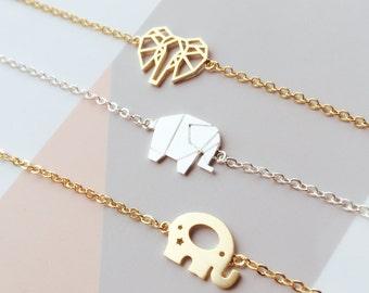 Elephant anklets, Origmai Animal anklets, Origami Elephant Jewelry, Woodland Jewelry