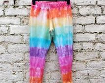 Yoga Leggings Tie Dye Rainbow Hippie Womens Workout Leggings ALL SIZES Custom Made to Order Hippie Boho Festival Pride LGBT Clothing