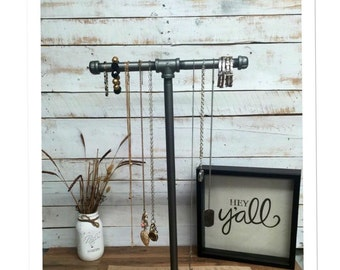 Large Industrial pipe jewelry stand, jewelry display, jewelry rack, rustic industrial chic