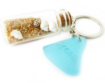 Beach Keychain, Sea Glass Keychain, Seashell Keychain, Bottle Keychain, Beach Glass Keychain, Car Accessories