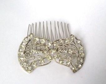 Art Deco hair comb, rhinestone bridal comb, bow hair comb, Art Deco wedding