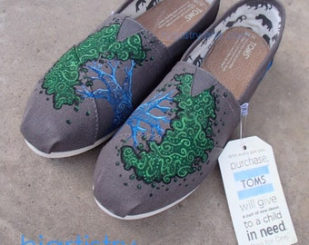 Custom Painted Toms for Wedding or Anniversary etc. Hand Painted Tree Toms