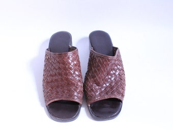 Brown Leather Woven Mule