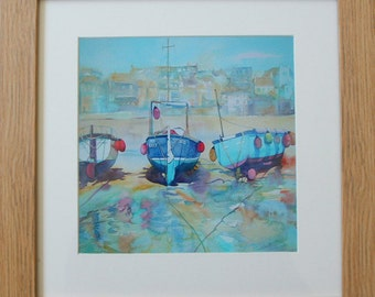 Framed print of watercolour, boats at low tide, St Ives, Cornwall