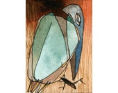 """Frozen Smoke - Original watercolor and ink drawing Artist Trading Card, """"Birds"""" series #51"""