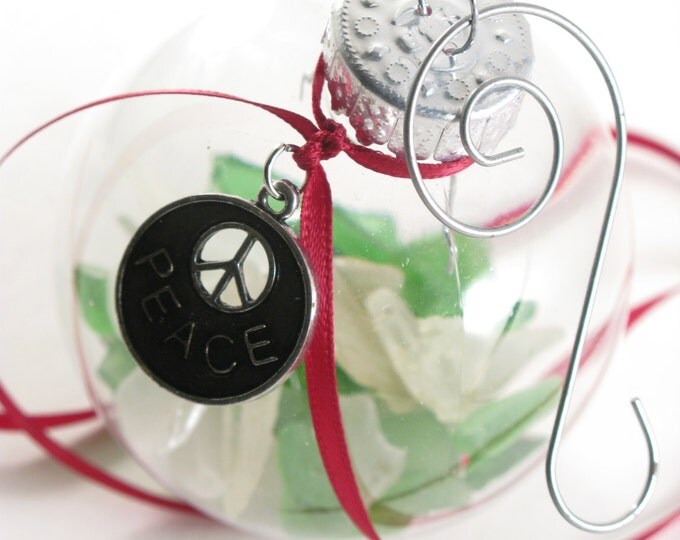 """Soda Bottle Green and White Sea Glass Filled Ornament with a Silver Peace Sign Charm 2"""" Clear Ball Christmas Ornament with a Swirl Hook"""