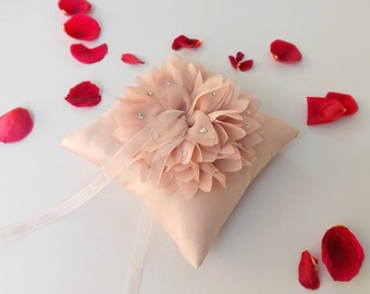 Antique pink wedding ring pillow. Dahila flower cushion ring. Chiffon flower ring bearer.