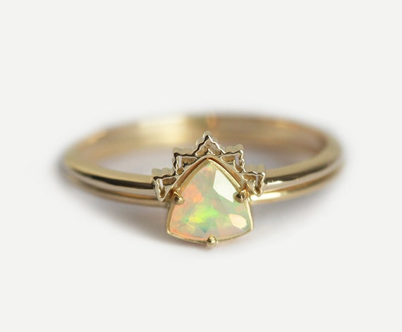 opal engagement ring set opal wedding ring lace wedding set lace wedding band - Opal Wedding Ring Sets