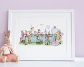 Enchanted Tea Party, UNFRAMED Children's Picture, Girl's Nursery Decor, Pink, Lilac, Vintage Floral, Forest Animal Picnic, Princess Art