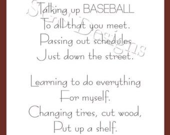 3x10 Baseball Coach's Wife Poem Digital File (Instant Download)