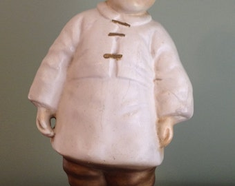 Vintage Chinese plaster boy statue