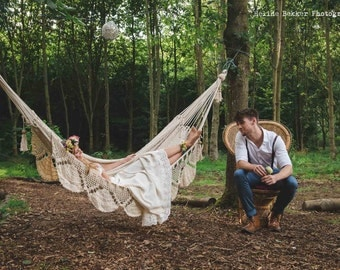 PREORDER Hammock Cocoon Style, Cream color cotton ropes, 100% Handmade, Certified, For outdoor or indoor, Fair Trade. → 14 DAYS DELIVERY